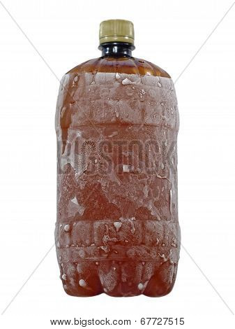 Frozen Brown Plastic Bottle Taken Closeup.isolated.
