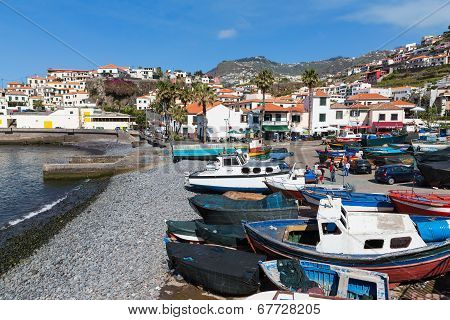 Harbor With Fishermen And Fishing Ships In Funchal, Portugal
