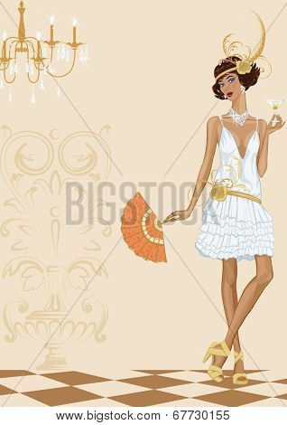 Vector illustration of a woman in style of the twenties. Contemporary woman dressed in style of the twenties standing with glass of cocktail
