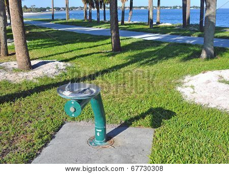 Metal green public water fountain
