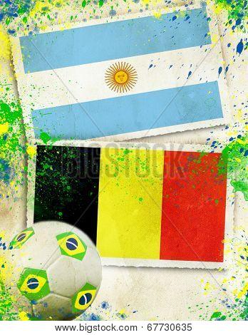 Argentina vs Belgium soccer ball concept