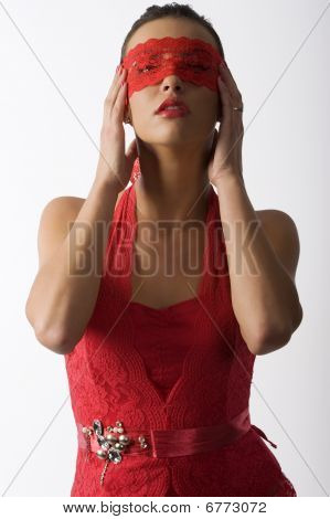 Red Lace In Mask