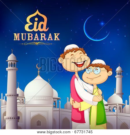 illustration of people hugging and wishing Eid Mubarak