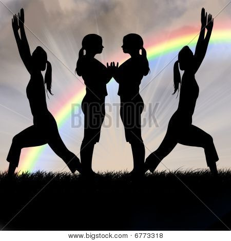 Female Silhouettes fitness yoga