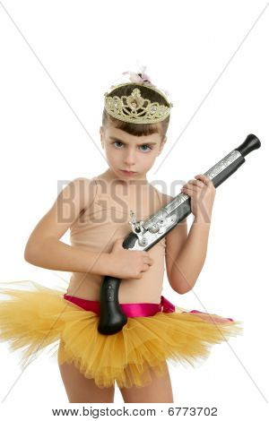 Beautiful Little Ballerina Girl With Blunderbuss