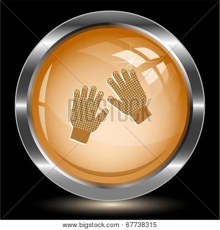 Gauntlets. Internet button. Raster illustration.