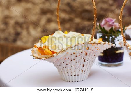 Rose Petals In Wedding Basket For Church Ceremony.