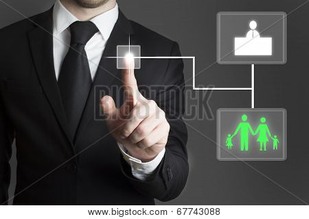 Businessman Touchscreen Decision Family Work