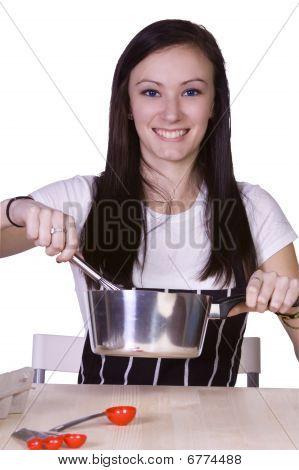 Beautiful Teenager Preparing Food