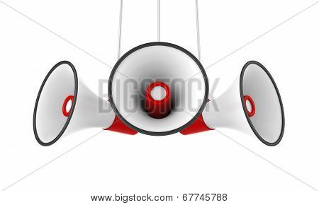 Red Megaphones Isolated