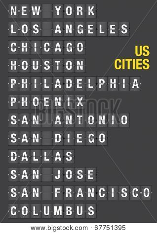 Name Of Us Cities On Airport Flip Board