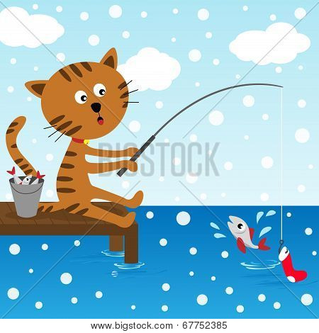 Cat fishing at winter day