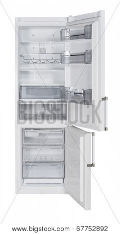 Open two door white refrigerator isolated on white