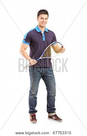 Full length portrait of a young male racquetball player isolated on white background