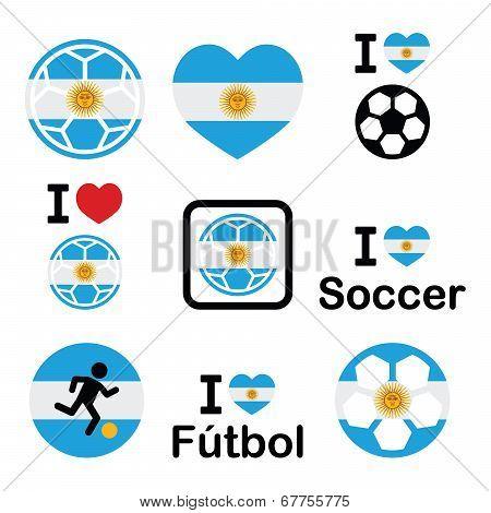 I love Argentine football, soccer icons set