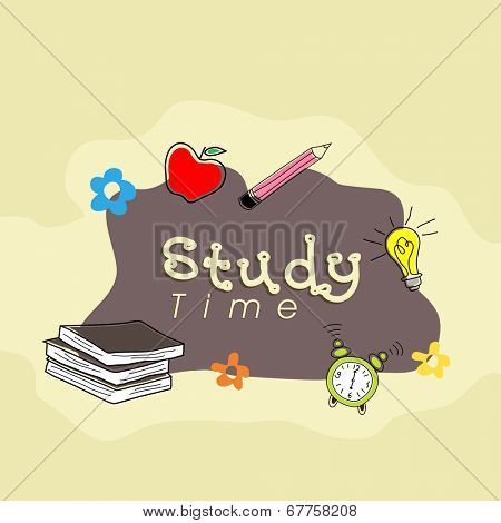 Kiddish illustration for study time with books and stationery on beige background.