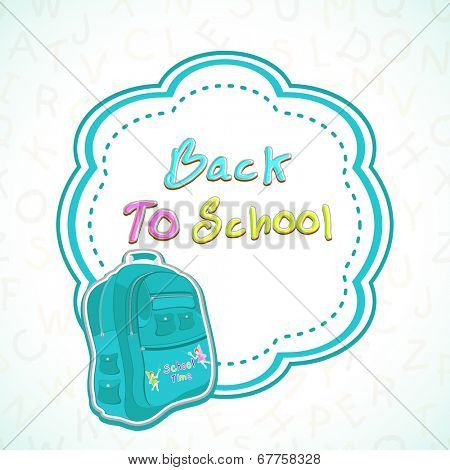 Kiddish illustration of a school bag on colorful decorated background on floral decorated grey background.