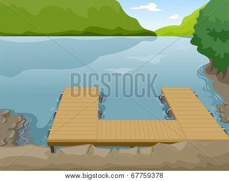 Illustration of a Boat Dock Near a Lake