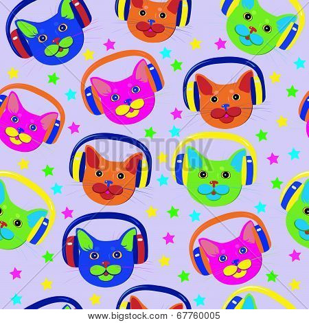 pattern of colored cats