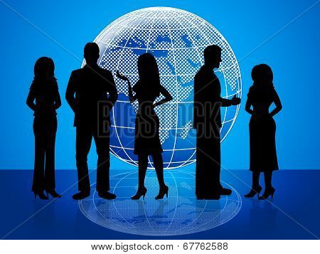 Business People Means Globally Businesswoman And Colleagues