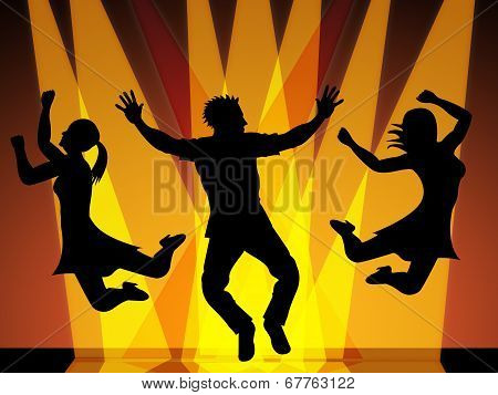 Jumping Disco Indicates Celebration Dance And Dancing