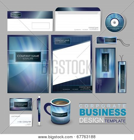 Business Corporate Identity Template With Abstract Blue Background