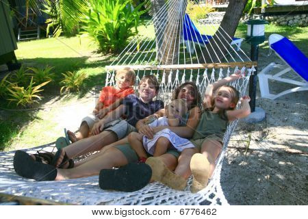 Happy Family On Hammock