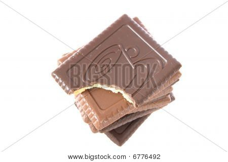 Stack Of Shortbread Butter Biscuits With Chocolate