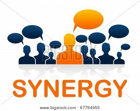 Synergy Teamwork Shows Working Together And Collaborate