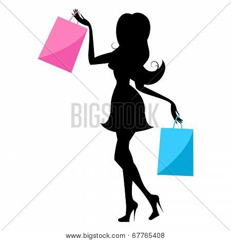 Shopping Woman Indicates Retail Sales And Buying