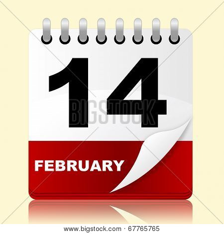 Love Calendar Means Valentines Day And 14Th