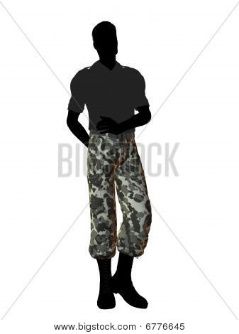 Silhueta de ilustração de soldado masculino