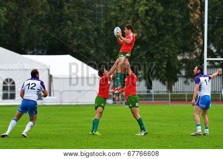 MOSCOW, RUSSIA - JUNE 28, 2014: Match between Scotland (white and blue uniform) and Portugal during the FIRA-AER European Grand Prix Series. Scotland won 12-7