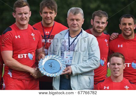 MOSCOW, RUSSIA - JUNE 29, 2014: Team Wales wins plate during the FIRA-AER European Grand Prix Series. In the plate final Wales beat Russia 24-12