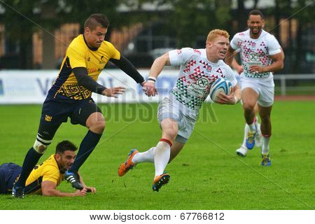 MOSCOW, RUSSIA - JUNE 28, 2014: Match between England (white uniform) and Romania during the FIRA-AER European Grand Prix Series. England won 45-0