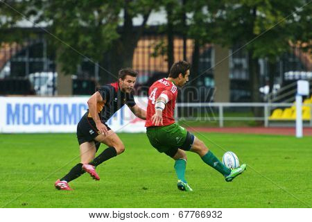 MOSCOW, RUSSIA - JUNE 28, 2014: Diogo Miranda of Portugal make the kick in the match with Germany during the FIRA-AER European Grand Prix Series. Portugal won 17-5