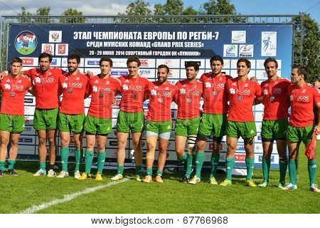 MOSCOW, RUSSIA - JUNE 29, 2014: Team Portugal during award ceremony of the FIRA-AER European Grand Prix Series. Portugal won silver medals