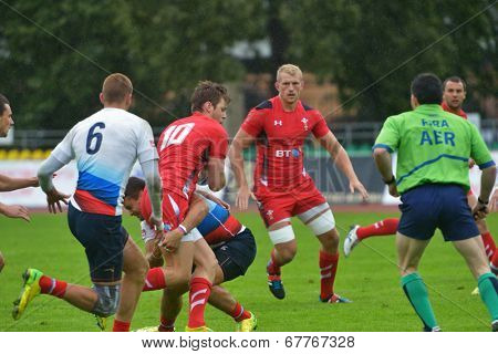 MOSCOW, RUSSIA - JUNE 28, 2014: Match between Russia and Wales (red uniforms) during the FIRA-AER European Grand Prix Series. Wales won 26-12