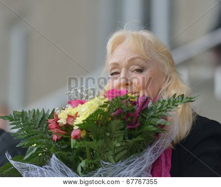 ZHUKOVSKY, MOSCOW REGION, RUSSIA - JUNE 27, 2014: Elena Znamenskaya, Georgy Znamensky's daughter, the guest of honor of Znamensky Memorial