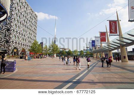 LONDON, UK - MAY 18, 2014 O2 Arena, hall with cinema entrance