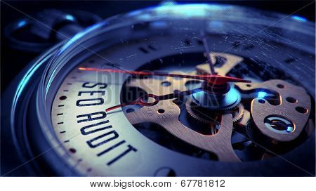 Seo Audit on Pocket Watch Face. Time Concept.