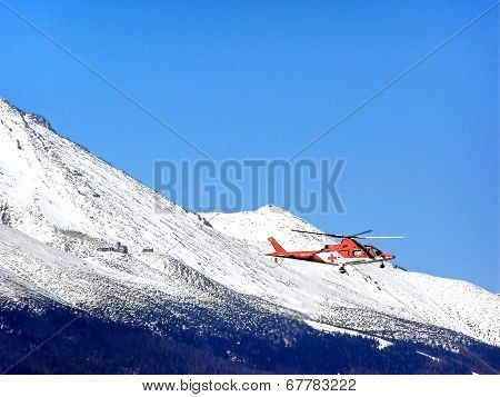Aerial Machinery And Propeller With The Line Of Mountains