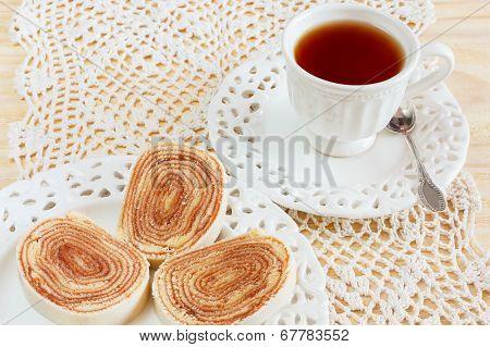 Bolo De Rolo (swiss Roll, Roll Cake) Brazilian Dessert Cup Tea