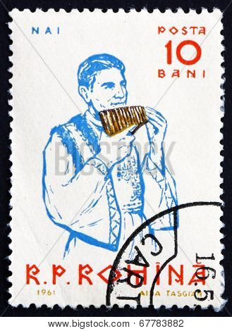 Postage Stamp Romania 1961 Peasant Playing Panpipe