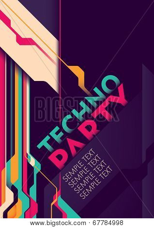 Techno party poster. Vector illustration.
