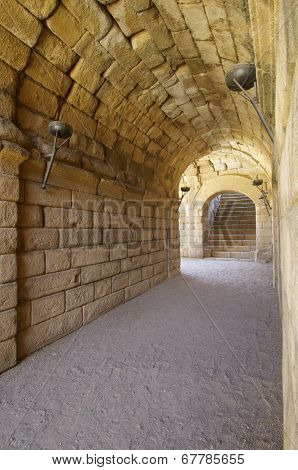 Tunnel in Roman theater in Merida, the theater, today, is used for theatrical performances, Merida, Badajoz, Extremadura, Spain