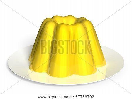 Sour lemon pudding dessert rendered in 3D