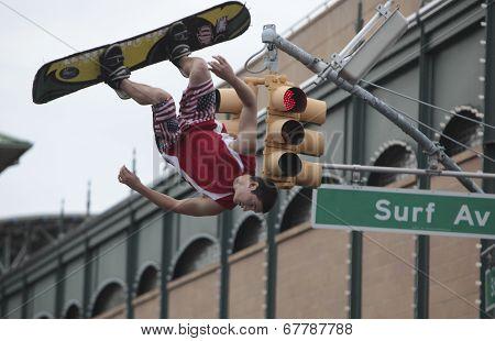 Acrobats perform on Surf Avenue