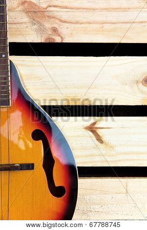 close up of vintage mandolin background