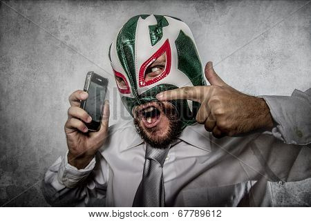 man arguing by phone, aggressive executive suit and tie, Mexican wrestler mask